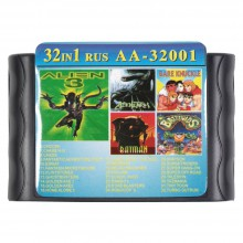 Картридж Сега 32 в 1  (AA-32001)  ALIEN 3/BARE RNUCKLE/BATMAN/FANTASIA/ FLINTSTONES/+..