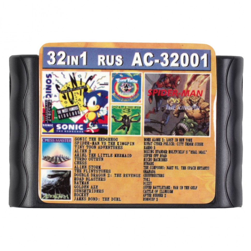 Картридж Sega 32 в 1  (AC-32001)  SPIDER-MAN/TINY TOON /ALIEN 3+..